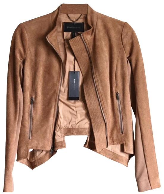 Item - Tan Mandarin Collar Faux Leather Jacket Size 2 (XS)