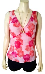 Banana Republic Size Medium Silk P1370 Top pink, ivory