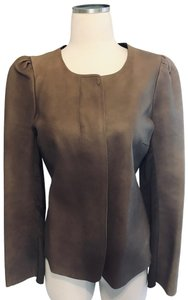 Of Two Minds Coat Suede Beige Puffy Shoulders Pleated Brown Leather Jacket