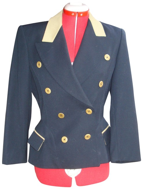 Item - Navy Blue and Tan Fitted Military 34 Blazer Size 4 (S)