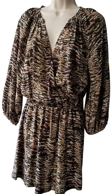 Item - Brown Women Long Sleeve Deep V Multi-color Print Silk Mid-length Short Casual Dress Size 8 (M)