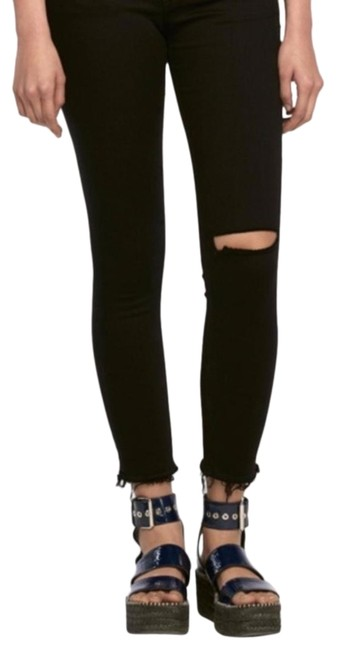 Item - Black Distressed Capri Cropped Skinny Jeans Size 4 (S, 27)