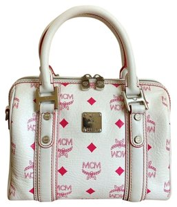 MCM Boston Leather Coated Canvas Satchel in White & Pink