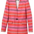 Banana Republic Orange Pink White Long Line Car Collarless Coat Blazer Size 8 (M) Banana Republic Orange Pink White Long Line Car Collarless Coat Blazer Size 8 (M) Image 2