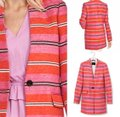 Banana Republic Orange Pink White Long Line Car Collarless Coat Blazer Size 8 (M) Banana Republic Orange Pink White Long Line Car Collarless Coat Blazer Size 8 (M) Image 5