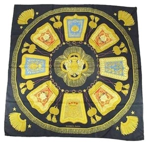 Hermès IVAN 051017 [ENTERPRISE] Scarf Black Gold Red Yellow 163512 HTL34