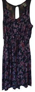 Pacific Sunwear short dress gray with pink Floral Summer Lace on Tradesy