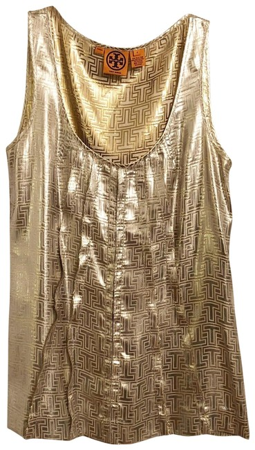 Item - Gold Silver New Silk Lamé S Blouse Size 6 (S)