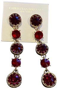 Christian Siriano Christian Siriano Long Dangle Dark Red Earrings