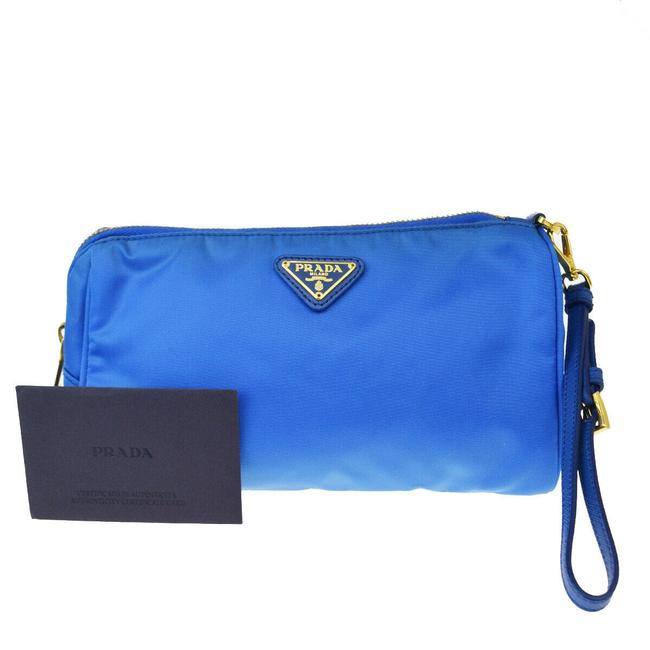 Item - Blue Pouch Milano Nylon Leather Made In Italy Cosmetic Bag
