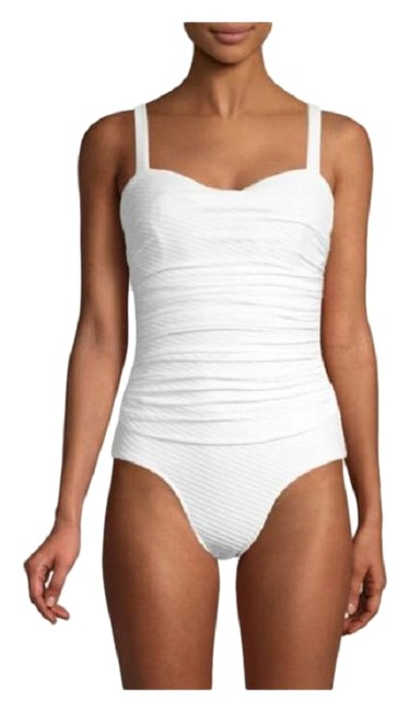 Item - White Ribbons Textured Swimsuit One-piece Bathing Suit Size 10 (M)