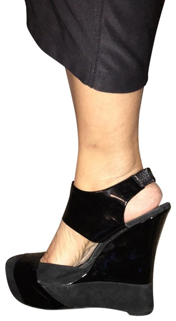 Item - Patent N Suede Sling Back Wedges Size US 10 Regular (M, B)