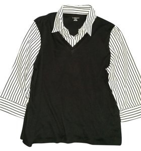 Allison Top Black & white w/stripes