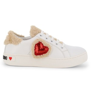 Love Moschino Designer Woman Leather Shearling Trim Size 40 White Athletic