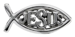 Apples of Gold JESUS ICHTHUS LAPEL PIN IN 14K WHITE GOLD