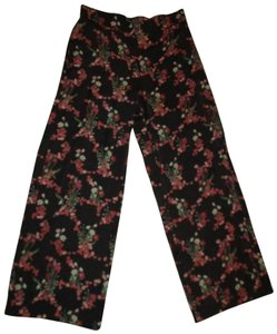 Max Studio Wide Leg Light Weight Floral Pull On Onm001 Trouser Pants black multi