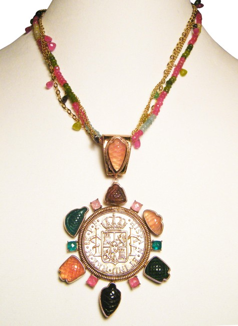 Item - Multicolor Bronze Medallion Tourmaline Necklace