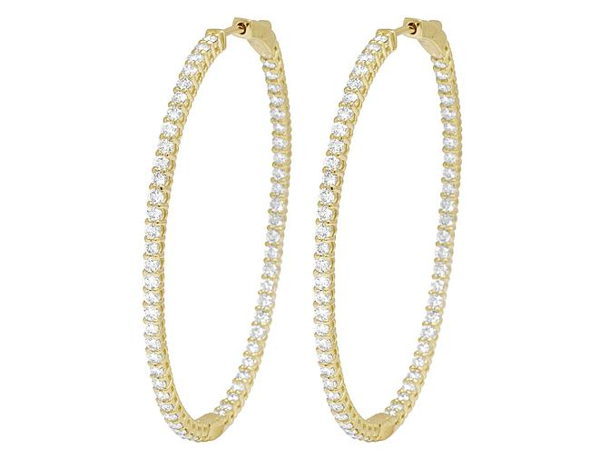 "Item - 14k Yellow Gold Inside-out Diamond Hoop 2.1"" 4.75ct Earrings"