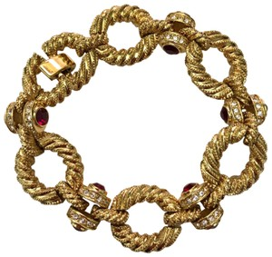 Camrose & Kross Jacqueline Kennedy Collection Rope link Bracelet with Simulated Rubie