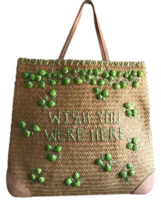 Item - Bag Beach Wish You Were Here Yellow Green Tan Straw Leather Tote