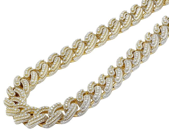 """Item - 10k Yellow Gold Layered Ice Out Diamond Miami Cuban 85.25ct 22"""" 19mm Necklace"""