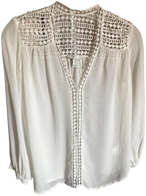 Item - Cream/Off White Silk with Cotton Embroidery Blouse Size 0 (XS)