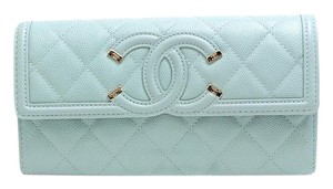 Chanel CHANEL CC Filigree Bi-fold Wallet A84448 Caviar Skin Light Blue 29s 2020