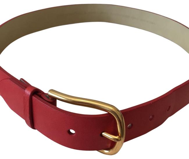 Item - Red with Gold Buckle Leather Belt