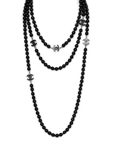 """Chanel Chanel 72"""" Black Beaded CC Extra Long Necklace"""