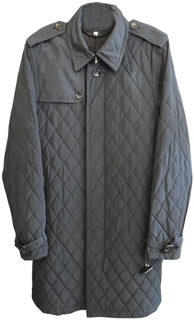 Item - Navy Quilted Button Up Belted Coat Size 12 (L)