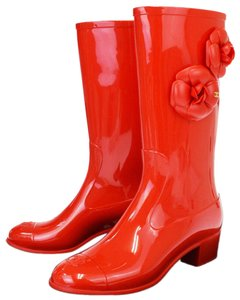 Chanel Red Boots