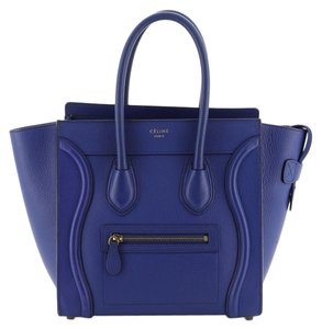 Céline Grainy Leather Tote in Blue