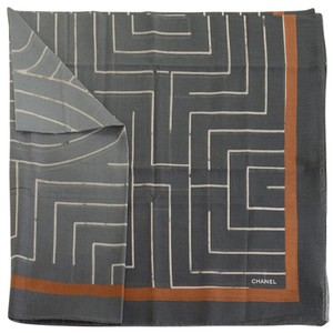 Chanel RDC10833- Chanel Cruise '18 Grey/White/Rust Cotton Pareo Large Scarf