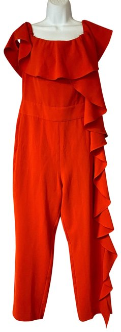 Item - Red L Basic Poly Romper/Jumpsuit