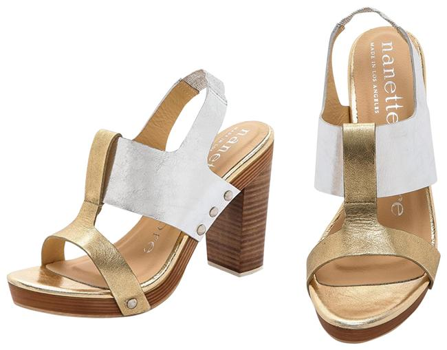Item - Gold and Silver Highball Sandals Size US 8.5 Regular (M, B)
