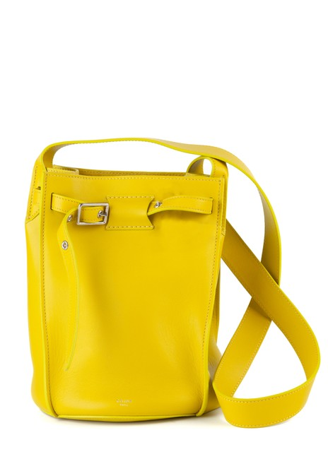 Item - Bucket Womens Neon Smooth Long Strap Yellow Calfskin Leather Shoulder Bag