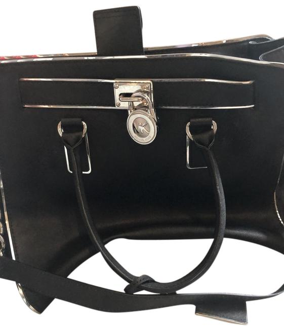 Item - Black and Silver Trim Leather Satchel