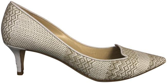 Item - White Tan Woven Raffia Pointed Toe Kitten Heels Pumps Size EU 38.5 (Approx. US 8.5) Regular (M, B)