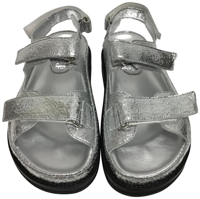 Item - Silver Crackled Sandals with Velcro Straps Boots/Booties Size EU 38.5 (Approx. US 8.5) Regular (M, B)