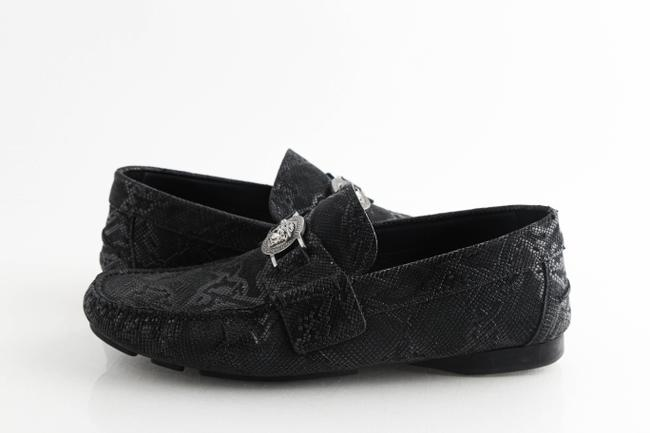 Item - Black Mock Python Medusa Loafers Shoes