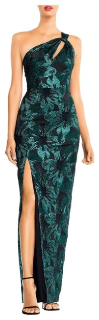 Item - Black and Emerald Metallic Jacquard One-shoulder Gown Long Formal Dress Size 0 (XS)