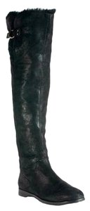 Jimmy Choo Fur Suede Over The Knee Winter Black Boots