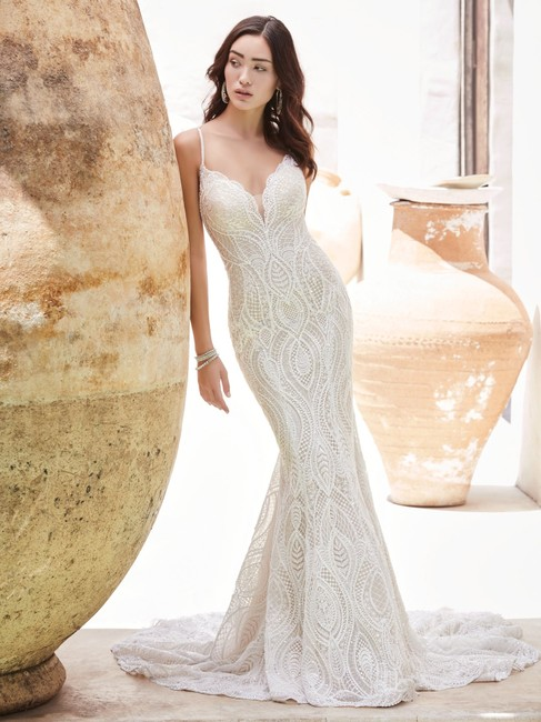 Item - Ivory Over Nude Lace Daxton Modern Wedding Dress Size 10 (M)