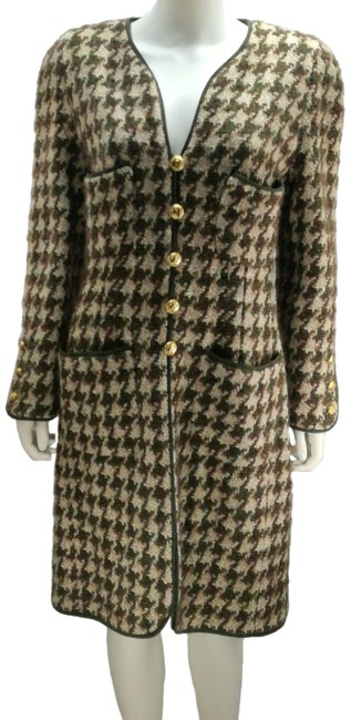 Item - Green Purple Beige And Pied De Poule Wool Logo Buttons Padded Coat Size 8 (M)