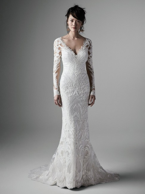 Item - Ivory Over Pearl Lace Cory Modern Wedding Dress Size 10 (M)
