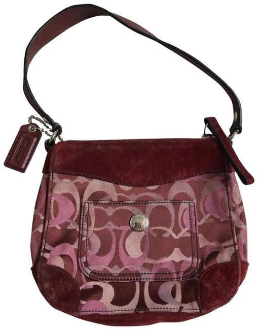 Item - Mini Bag Signature C Maroon and Pink Suede Leather Baguette
