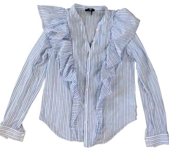 Item - Blue and White Stripe Ruffle Detailed Shirt Button-down Top Size 2 (XS)