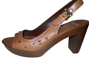 Nicole Leather Studded Slingback Platform tan Pumps