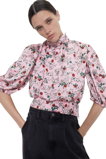 Item - XS High Neck Floral Print Puff Sleeve 2157/238 Pink Top