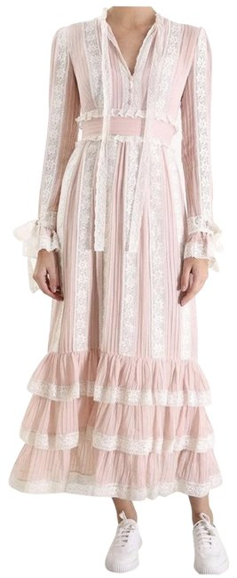 Item - Pink White Verity Pintuck Long Casual Maxi Dress Size 6 (S)